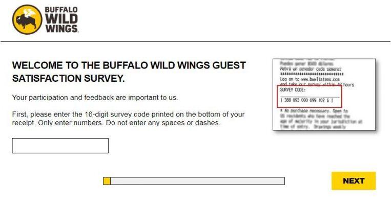 Buffalo Wild Wings Online Survey