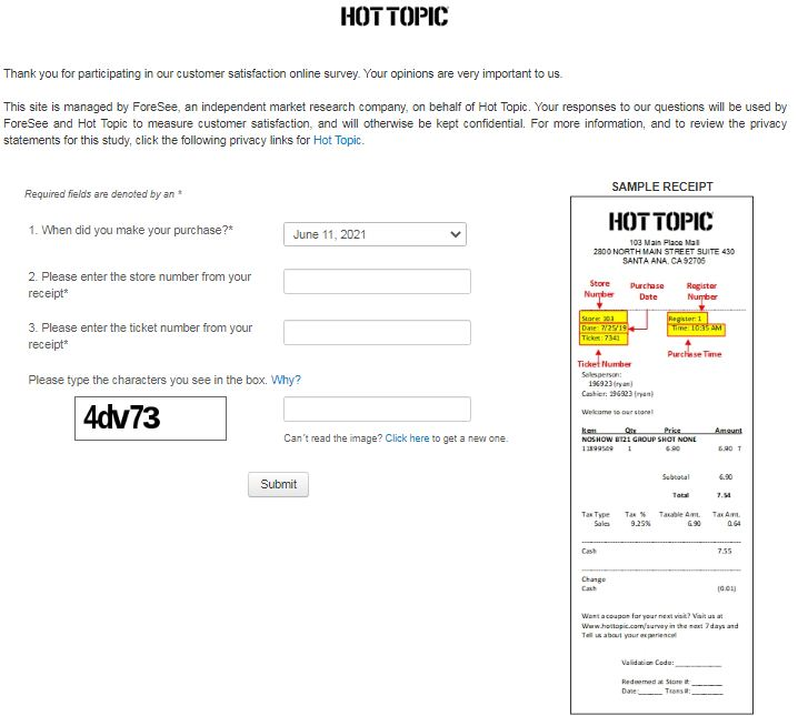 Hot Topic Online Survey
